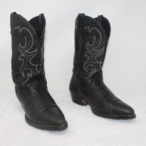 Laredo Black Soft Leather Western Boots Size 8 M